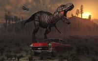 Dinosaur and Classic Car Fine-Art Print