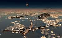 A UFO and B-29 Superfortress Aircraft Fine-Art Print