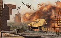 American P-47's Attacking German Jagdpanther Tanks Fine-Art Print
