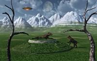 Sabre-Tooth Tigers Encountering UFO's Fine-Art Print