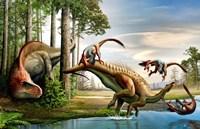Acrocanthosaurus Observes a Tenontosaurus Fine-Art Print