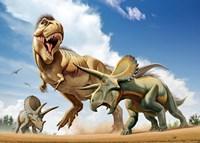 Tyrannosaurus Rex Fighting aTriceratops Fine-Art Print
