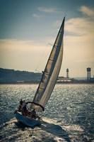 Spain, Barcelona Sailboat on the Balearic Sea just off the Coast Fine-Art Print
