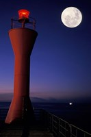 Spain, Teneriffe, Santa Cruz, Lighthouse, full moon Fine-Art Print