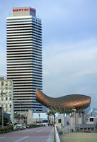 Olympic Port with Metal Mesh Fish by Frank O Gehry, Barcelona, Spain Fine-Art Print
