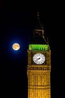 London, Big Ben Clock tower, the moon Fine-Art Print
