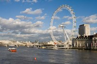 England, London, London Eye and Shell Building Fine-Art Print