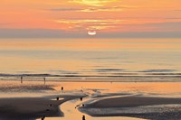 Sunset and beach, Blackpool, England Fine-Art Print