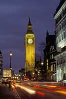 Big Ben at night with traffic, London, England Fine-Art Print