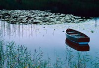 Rowboat on Lake Surrounded by Water Lilies, Lake District National Park, England Fine-Art Print