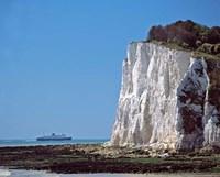 England, County Kent, White Cliffs of Dover, Ship Fine-Art Print