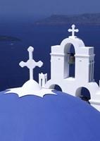 Dome and Crosses of Greek Church, Santorini, Greece Fine-Art Print