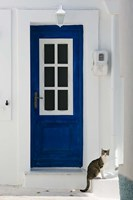Village Door with Cat, Kokkari, Samos, Aegean Islands, Greece Fine-Art Print