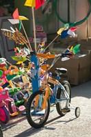 Bicycle Outside Toy Shop, Lesvos, Mytilini, Aegean Islands, Greece Fine-Art Print