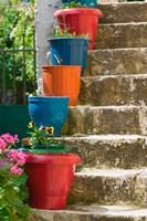 Staircase with Flower Planters, Fiskardo, Kefalonia, Ionian Islands, Greece Fine-Art Print