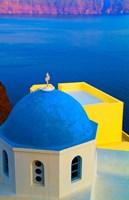 Beautiful Church with Blue Roof, Oia, Santorini, Greece Fine-Art Print