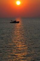 Greece, Crete, Aegean sunset, Fishing Boat Fine-Art Print