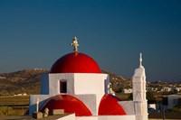 Greece, Mykonos, Red Dome Church Chapels Fine-Art Print