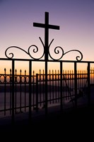 Greece, Santorini, Fira, iron cross, Christianity Fine-Art Print