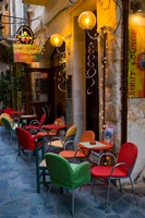 Outdoor Cafe Seating, Chania, Crete, Greece Fine-Art Print