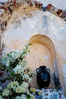 Pottery and Flowering Vine, Oia, Santorini, Greece Fine-Art Print