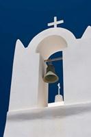 Church Bell Tower against Dark Blue Sky, Santorini, Greece Fine-Art Print