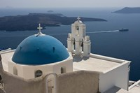 Greek Orthodox Church and Aegean Sea, Santorini, Greece Fine-Art Print