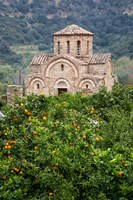 Byzantine church near Fodele, Grove of orange trees and Church of the Panayia, Crete, Greece Fine-Art Print