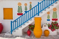 Flowers and colorful pots, Chora, Mykonos, Greece Fine-Art Print