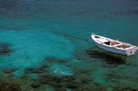 Boat in Harbor, Lakonian Mani, Areolopi, Peloponnese, Greece Fine-Art Print