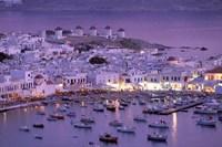 Overview of Mykonos Town harbor, Mykonos, Cyclades Islands, Greece Fine-Art Print