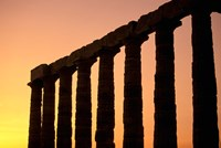 Temple of Poseidon Columns at Sunset, Cape Sounion, Attica, Greece Fine-Art Print