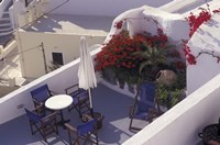 Patio of Hotel Between Fira and Imerovigli, Greece Fine-Art Print