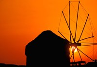 Sunrise with Mykonos Windmills, Mykonos, Cyclades Islands, Greece Fine-Art Print