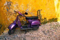 Vespa and Yellow Wall in Old Town, Rhodes, Greece Fine-Art Print