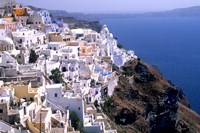 Mountains with Cliffside White Buildings in Santorini, Greece Fine-Art Print