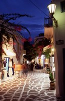 Alleyway at Night, Mykonos, Greece Fine-Art Print