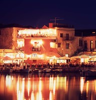 Harborside Restaurants at Night, Old Town, Rethymnon, Western Crete, Greece Fine-Art Print