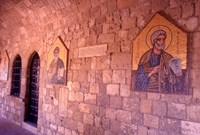 Wall Mosaics in the Cloister, Filerimos Monastery, Rhodes, Dodecanese Islands, Greece Fine-Art Print