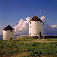 Greece, Mykonos White-washed Windmills Fine-Art Print