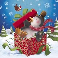 Penguin Holiday Surprise Gift Fine-Art Print