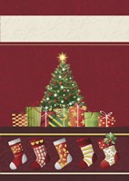 Christmas Tree and Stockings In Red Fine-Art Print