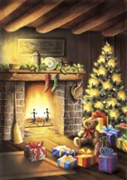 Gift Bear and Christmas By The Fireplace Fine-Art Print