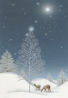 Snowy Winter TreeWith Star and Deer Fine-Art Print