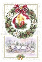 Holiday Wreath and Village With Candles Fine-Art Print