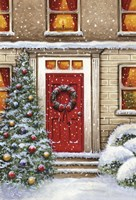 The Red Door and Christmas Wreath Fine-Art Print
