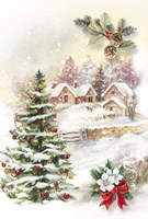 Christmas Tree and Snow Village Fine-Art Print