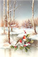 Birds In Town With Snow on Misteltoe Fine-Art Print