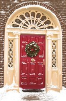 Red Door and Christmas Wreath Fine-Art Print