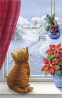 Kitten Christmas With Pointsettia Fine-Art Print